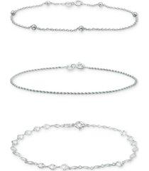 giani bernini 3-pc. set chain link bracelets, created for macy's