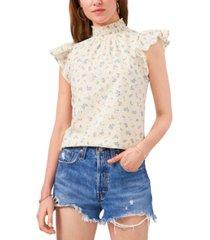 1.state flutter-sleeve mock-neck top