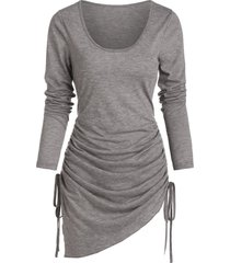 asymmetrical cinched heathered convertible dress