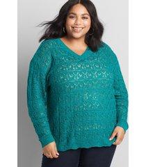 lane bryant women's pointelle double v-neck pullover sweater 22/24 blue grass