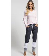 pijama recco de bionature c/ moletinho rosa - tricae