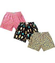 kit 3 shorts j10 tactel c/ elastano estampado multicolorido