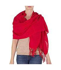 cotton shawl, 'strawberry embrace' (nicaragua)
