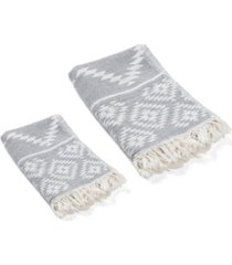 olive and linen aztec turkish bath and hand towel 2 piece set bedding