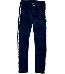 pantalón azul oscuro con aplique en laterales
