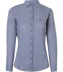 camisa dudalina manga longa tricoline stretch fio tinto feminina (listrado, 46)