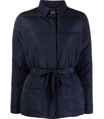 fabiana filippi belted-waisted padded coat - blue