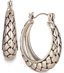 """charter club silver-tone braided small hoop earrings, 1"""", created for macy's"""