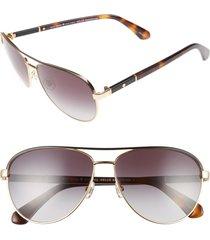 women's kate spade new york emilyann 59mm aviator sunglasses - gold/ havana