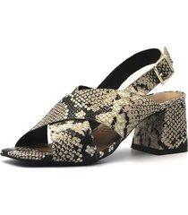 sandalia cuero cobra gris caprice