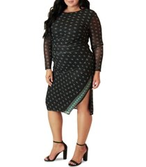 maree pour toi plus size ruched side-slit dress