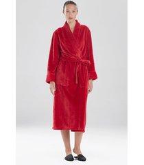 embossed waves sleep/lounge/bath wrap/robe, women's, red, size l, n natori