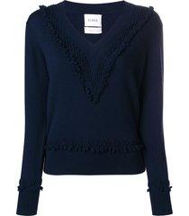 barrie romantic timeless cashmere v neck pullover - blue