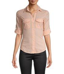 james perse women's contrast panel shirt - rhubarb - size 0 (xs)