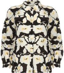 bloemenprint blouse met zijde fantasy  zwart