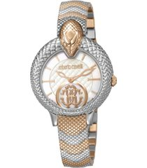 roberto cavalli by franck muller women's swiss quartz mother of pearl dial two-tone rose gold stainless steel bracelet watch, 34mm