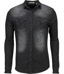 denim overhemd slim fit lange mouwen
