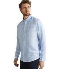 camisa con estampado paisley 100% lino celeste esprit