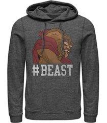 disney men's beauty the beast hashtag beast, pullover hoodie