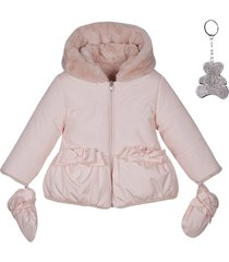 lapin house faux-fur hooded jacket - pink