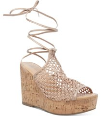 wild pair haylinn tie-up platform wedges, created for macy's women's shoes