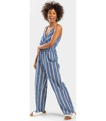 beck striped jumpsuit - chambray
