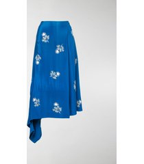 erdem floral-embroidered wrap skirt