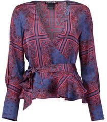 blouse wrap blauw