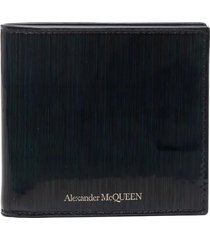 alexander mcqueen man wallet in black glossy leather with multicolor effect and silver logo