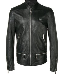 philipp plein classic motorcycle jacket - black