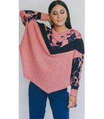sweater trapecio rosa hojas azul natalia seguel