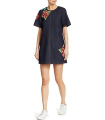 ashton embroidered denim dress