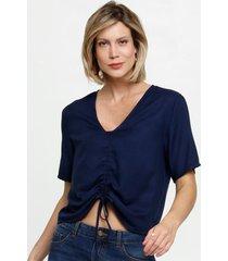 blusa feminina cropped tiras amarração marisa