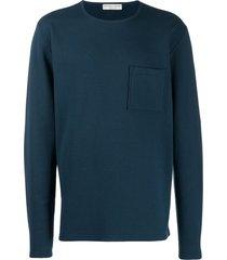 bottega veneta patch pocket crew neck sweater - blue
