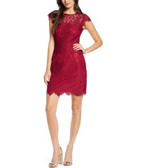 women's bb dakota jayce lace sheath cocktail dress, size 0 - red
