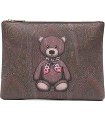 etro teddy bear paisley clutch - brown