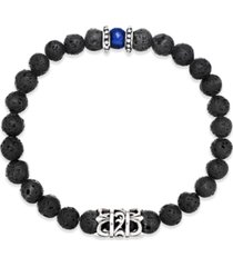 men's onyx lava bead bracelet in stainless steel