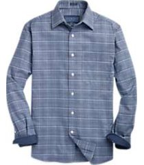 joseph abboud indigo sport shirt blue glen plaid