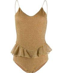 oséree metallic ruffled swimsuit - gold