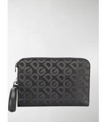 dolce & gabbana logo pattern pouch