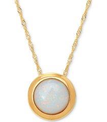 """opal birthstone 18"""" bezel pendant necklace in 14k gold"""