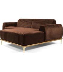 sofã¡ 3 lugares com chaise esquerdo base de madeira euro 230 cm veludo marrom - gran belo - marrom - dafiti