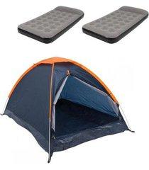 barraca camping nautika panda + 2 colchões solteiro inflável star twin