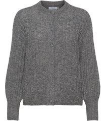 deanna alpaca rib cardigan stickad tröja cardigan grå moss copenhagen