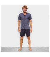 pijama curto hering mescla botão masculino