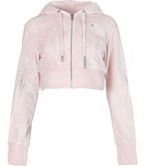 cropped zipped hoodie light pink