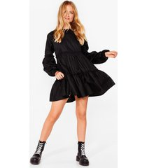 womens what brings you tier relaxed mini dress - black