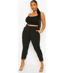 plus stretch broek met kanten zoom, black