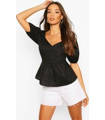 cotton v neck puff sleeve peplum top, black
