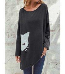 camicetta a maniche lunghe con stampa gatto irregolare a spacco di cartone animato